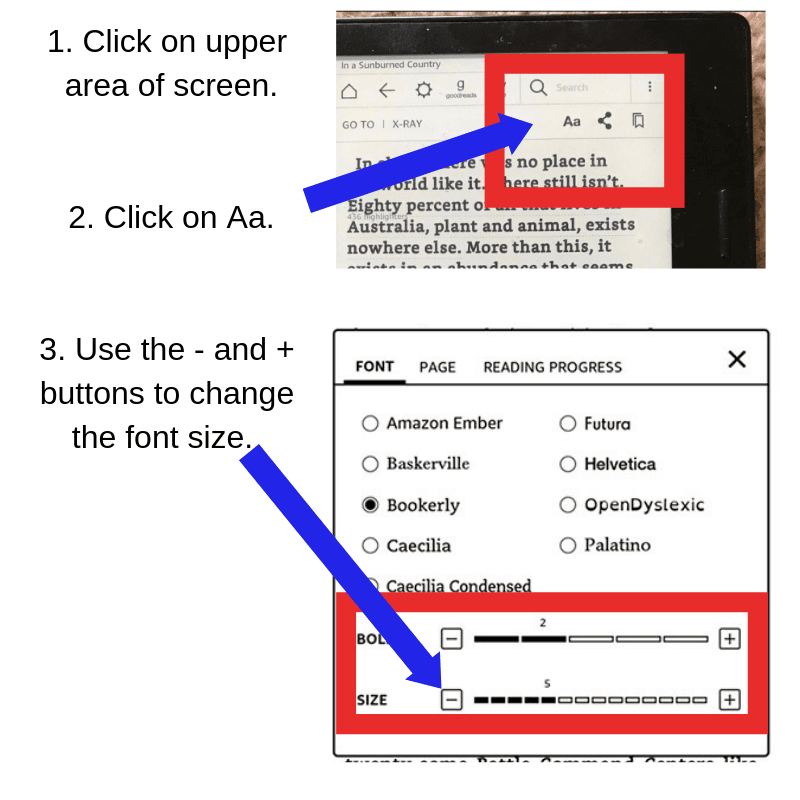 Font Adjustment Instructions for the Non-Updated Kindles