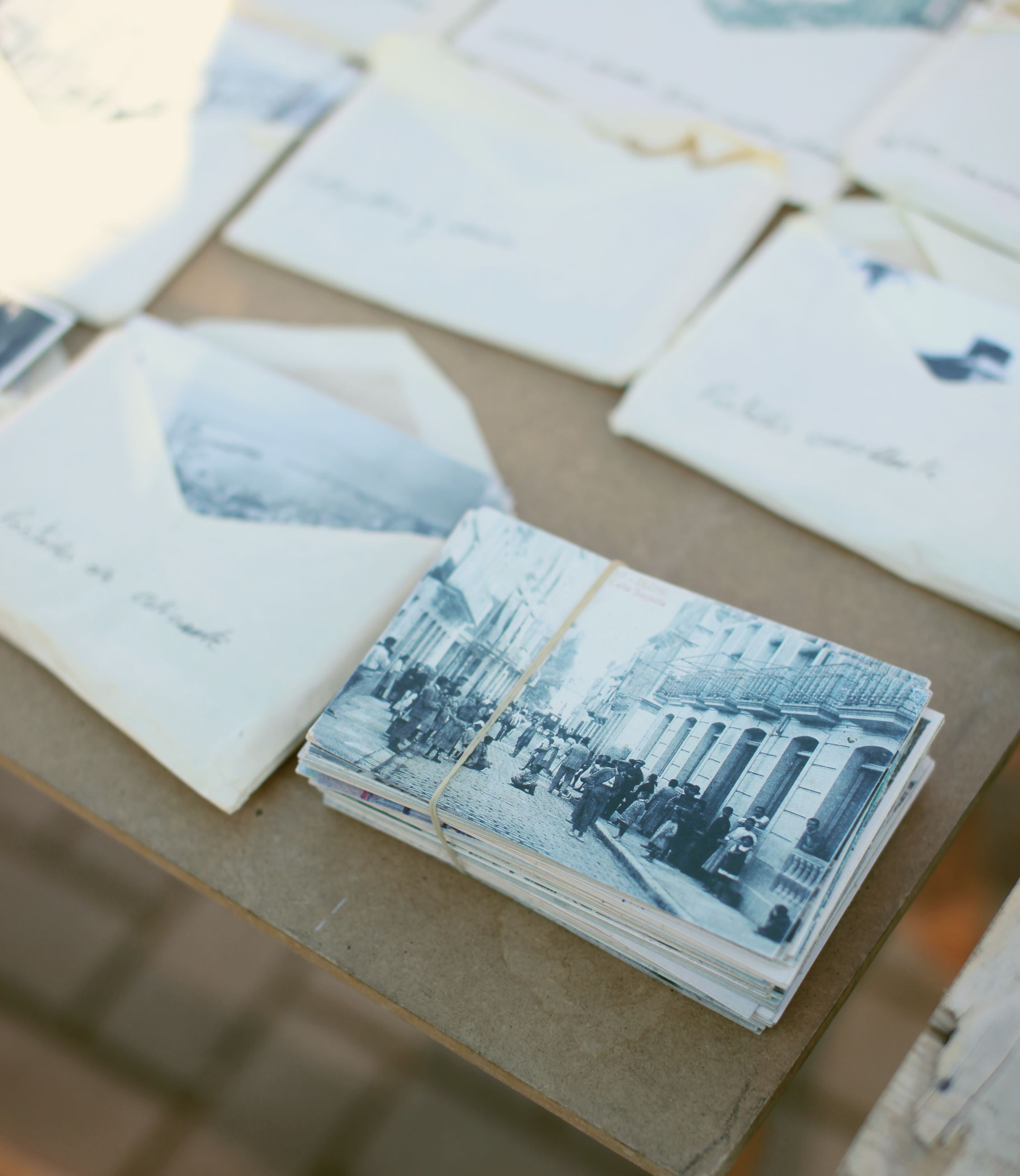Stacks of Photos with labeled envelopes