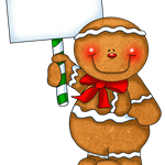 Gingerbread Man Holding Blank Sign