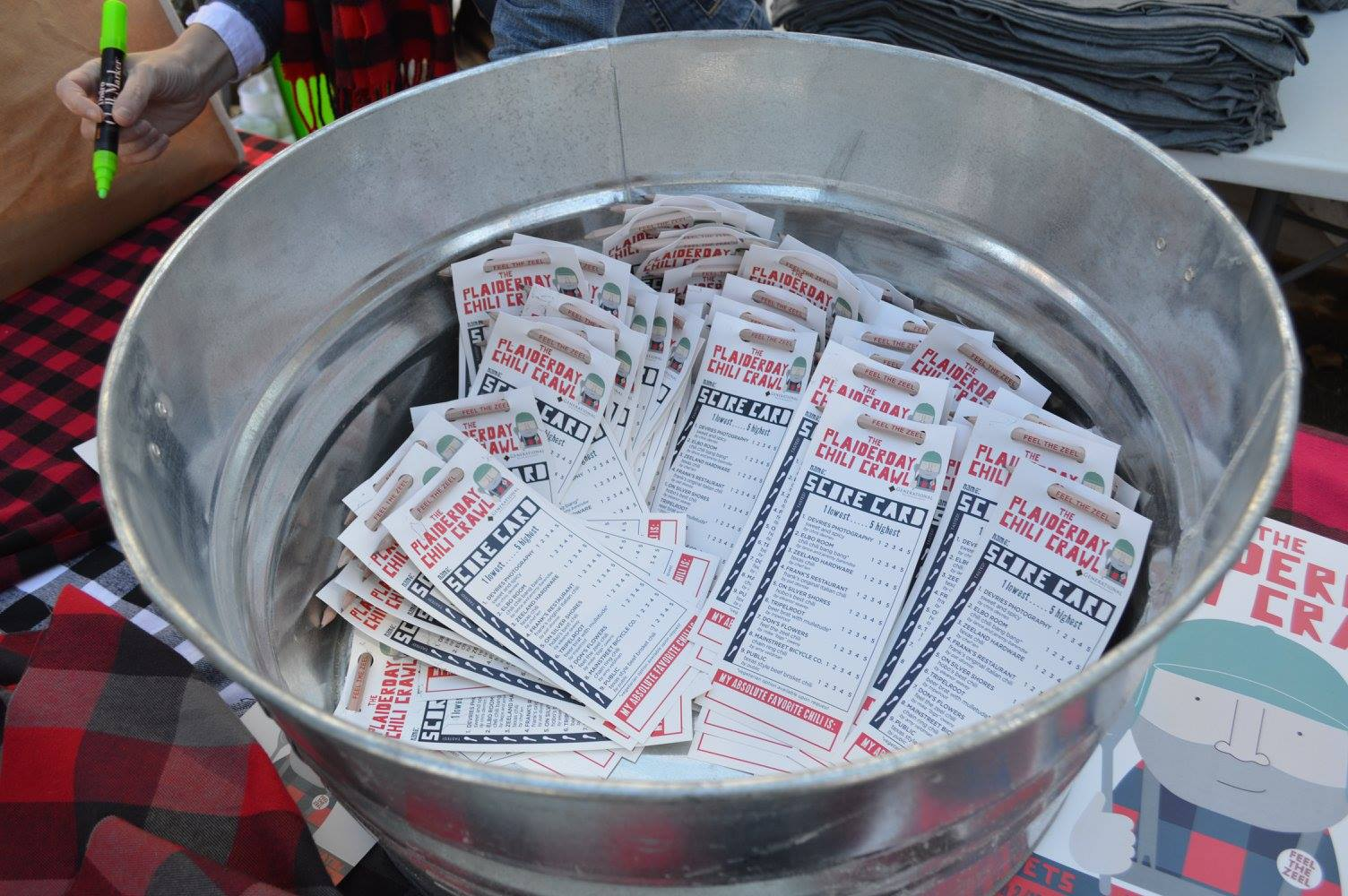 tub of scorecards