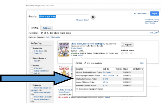 Catalog search results page with libraries that have book listed
