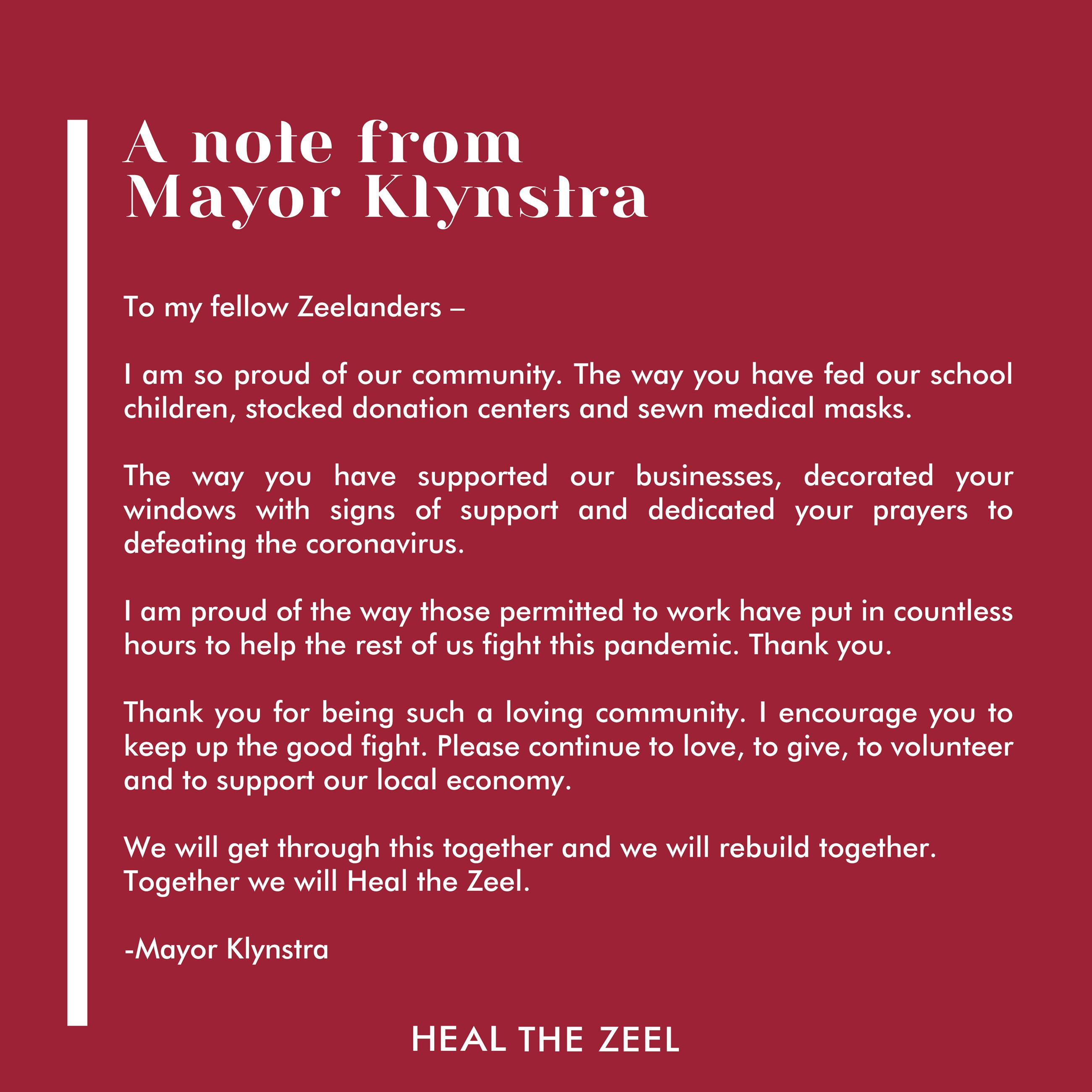 a note from the mayor